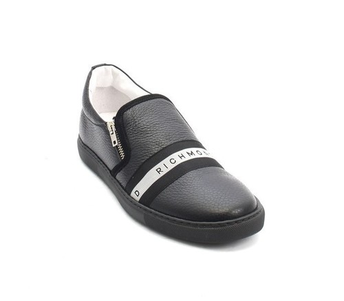 Black / White Leather Loafers Sneakers Shoes