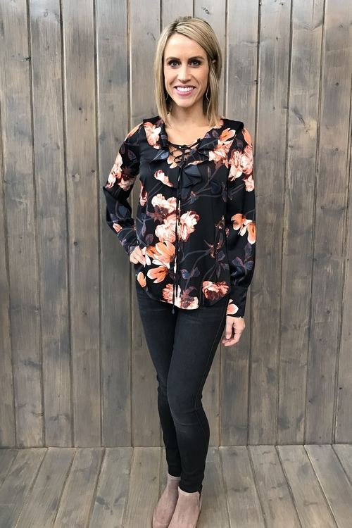 Kenna Ruffle Neck Floral Blouse
