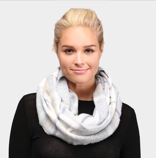 Grey Plaid Infinity Scarf