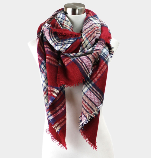 Red/Navy Plaid Blanket Scarf