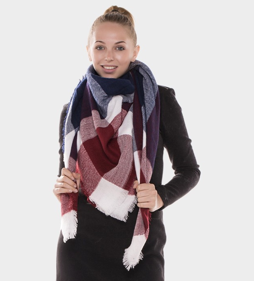 Burgundy/Navy Plaid Scarf
