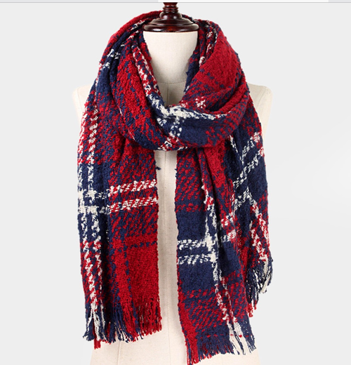 Red Plaid Oblong Scard