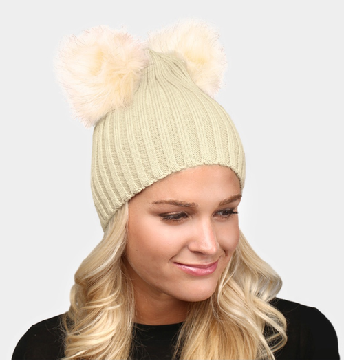 Beige Double Pom Winter Hat