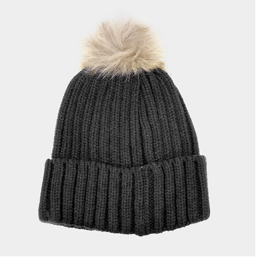 Black Pom Winter Hat