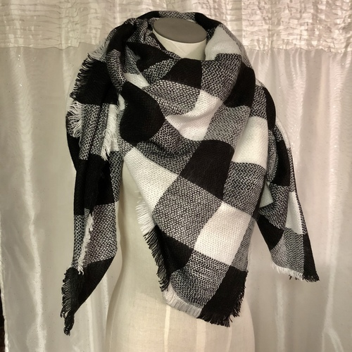 Large Plaid Blanket Scarf