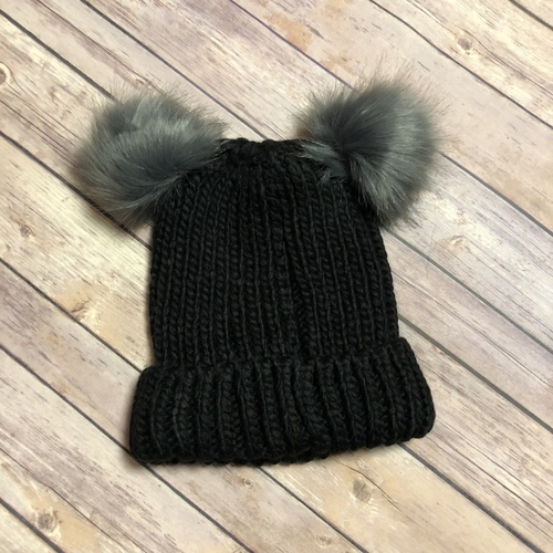 Black Double Pom Winter Hat