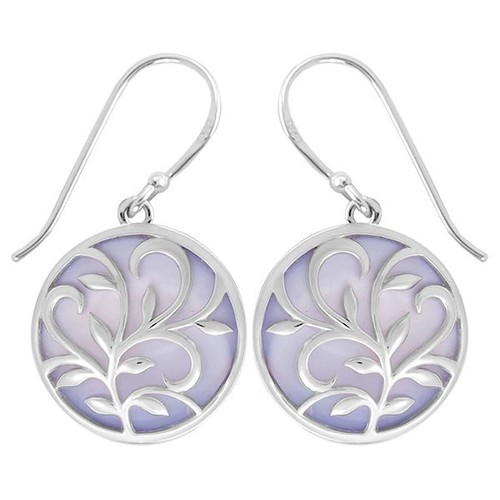 Leaf & Vine Circle Earrings Purple Mother of Pearl