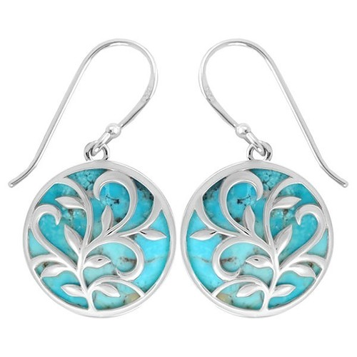 Leaf & Vine Circle Earrings Turquoise