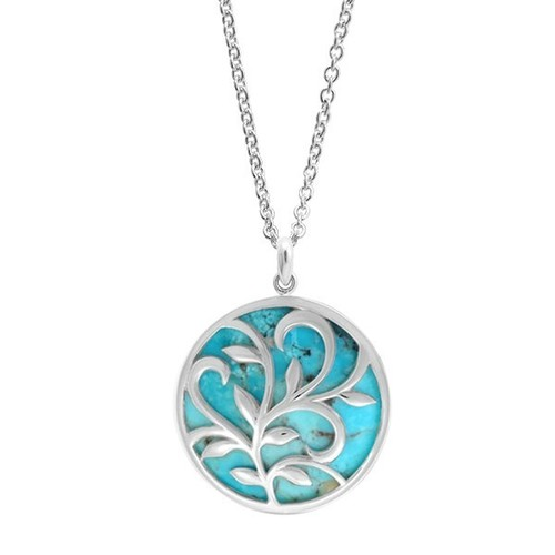 Leaf & Vine Circle Necklace Turquoise