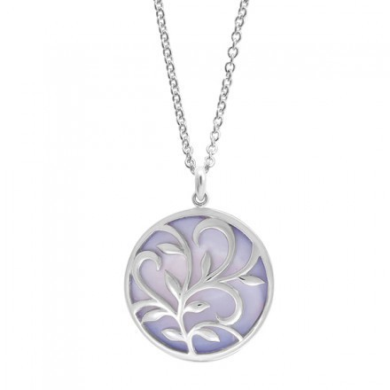 Leaf & Vine Circle Necklace Purple Mother of Pearl