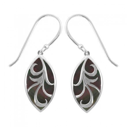 Marquis Vine Earrings Black Mother of Pearl