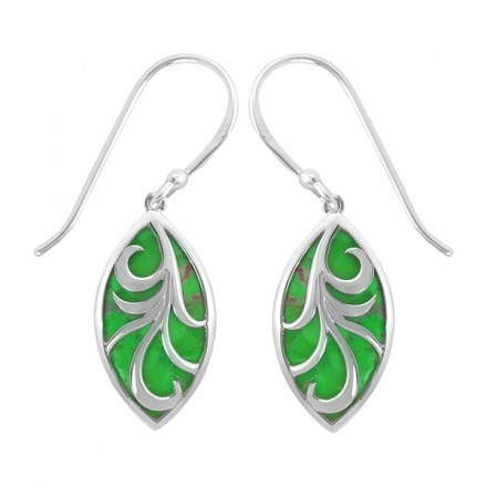 Marquis Vine Earrings Green Turquoise