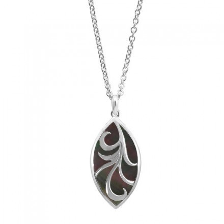 Marquis Vine Necklace Black Mother of Pearl