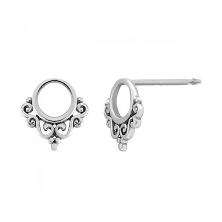 Round Balinese Filigree Stud Earrings