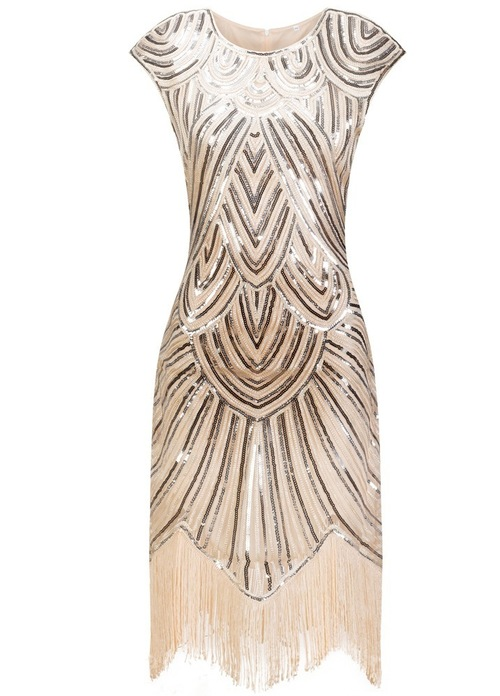 Thelma Flapper Dress Cream