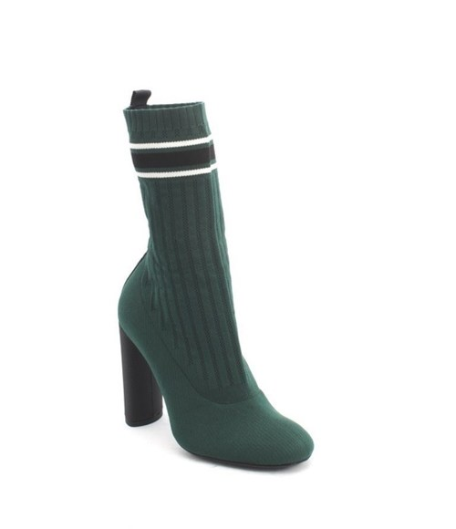 Black Stretch-knit Sock Mid-Calf Heels Boots
