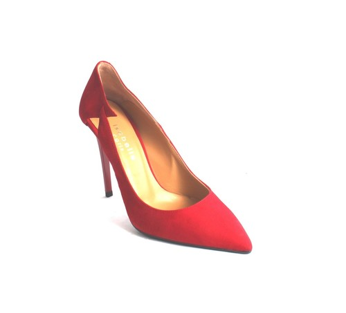 Red Suede Stiletto Heels Pointy Toe Pumps