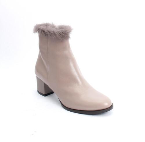 Beige Gray Leather Fur Cuff Zip Heel Ankle Booties By