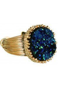 Blue Druzy Adjustable Ring