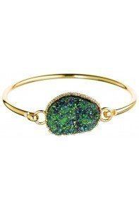 Emerald Druzy Bangle Bracelet Gold
