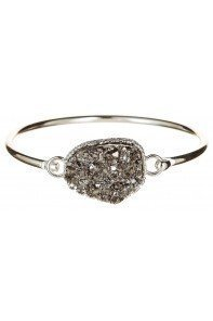 Hematite Druzy Bangle Bracelet Silver