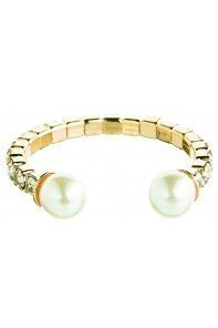 Gold Crystal Pearl End Flex Ring