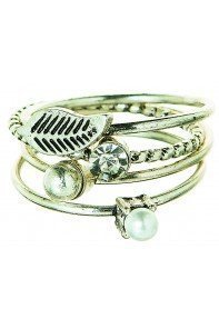 Silver Clear 4 Piece Stack Ring