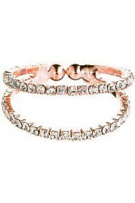 Rose Gold 2 Row Flexy Clear Crystal Ring