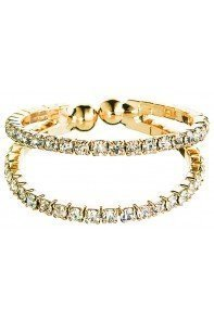 Gold 2 Row Flexy Clear Crystal Ring