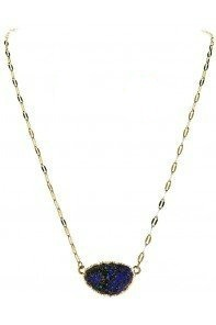 Blue Wheat Chain Druzy Necklace