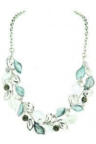 Silver Frosted Leaves Neckalce