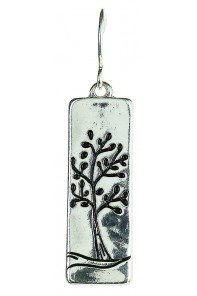 Silver Rectangle Etched Tree Earrings