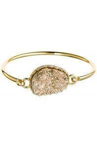 Rose Druzy Hook Bangle Bracelet