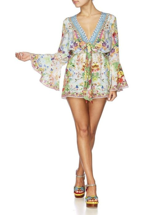 Wide Sleeve Tie Front Playsuit