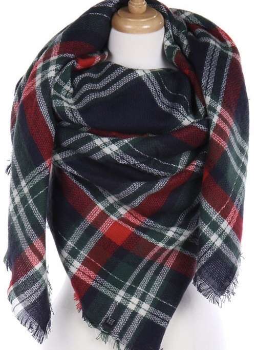 Navy, Red & Green Blanket Scarf