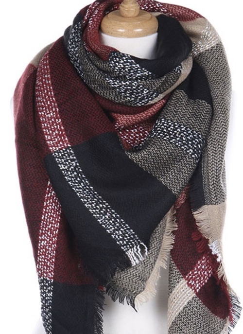 Burgundy & Black Blanket Scarf