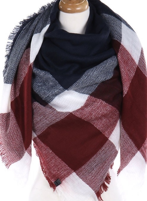 Navy & Red Blanket Scarf