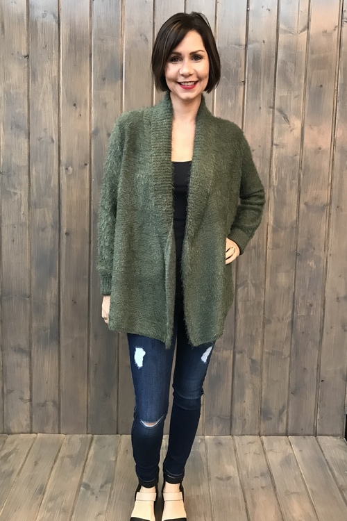 Marcela Beetle Green Eyelash Cardigan