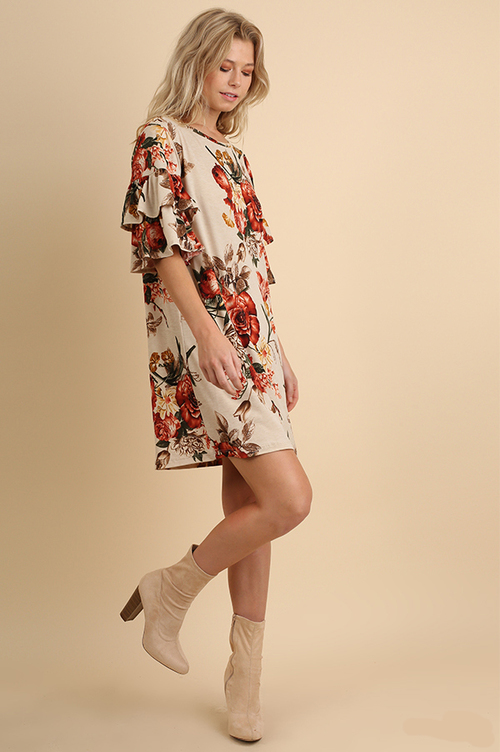 Floral Print Shift Dress w/ Layered Ruffle Bell Sleeve