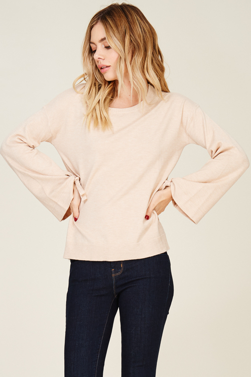 Round Neck Bell Sleeve Sweater