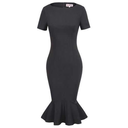 Kylie Mermaid Pencil Dress in Black