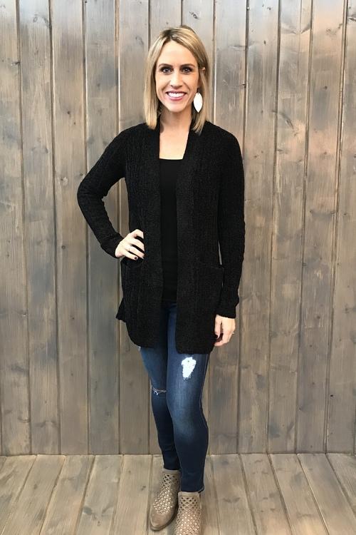 Avery Black Soft Yarn Sweater Cardigan