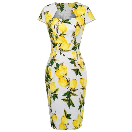 Natalia Pencil Dress in Lemon