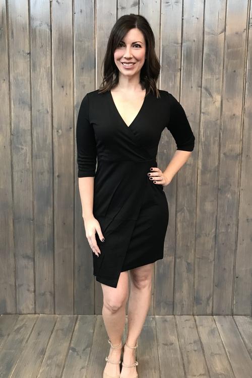 Cross Over Dress Black