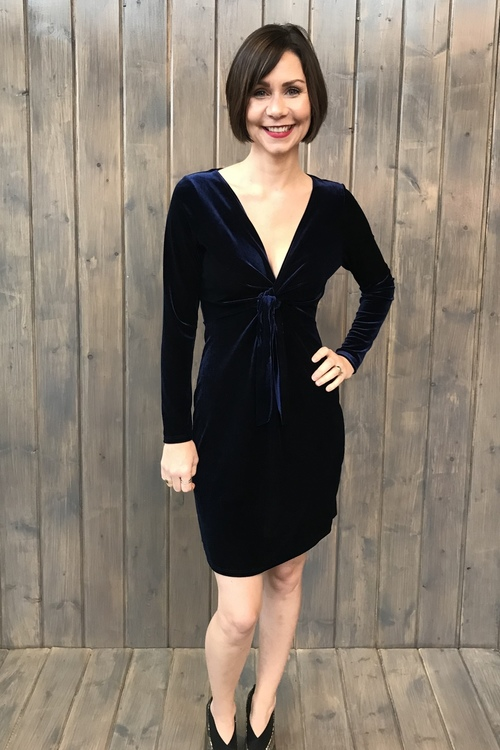 Navy Velvet Knotted Front Dress
