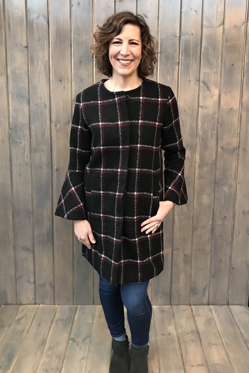 Hewes Flare Sleeve Plaid Coat