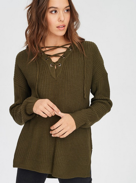 Lace Up Front Tie Sweater