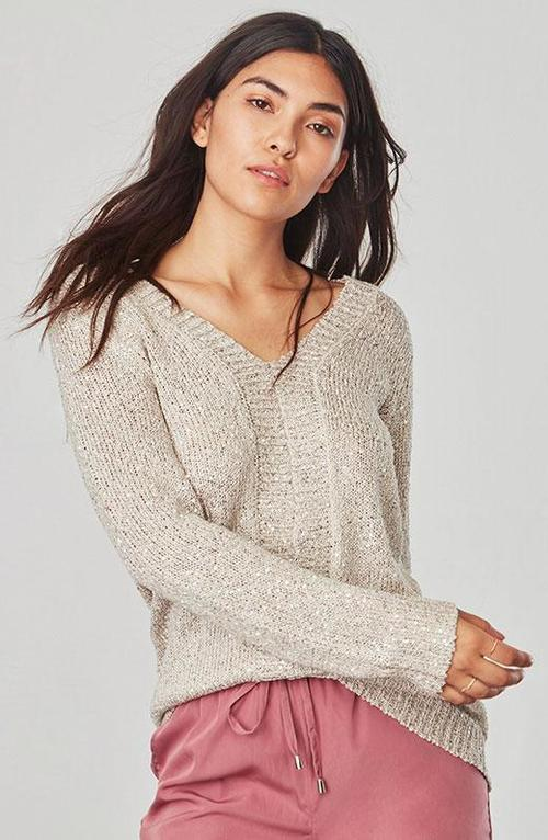 Jackson Sequin Pale Gold Sweater