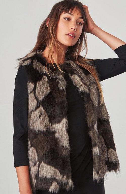 Genevieve Falcon Brown Faux Fur Vest