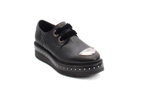 Black Leather Lace-Up Platform Shoes